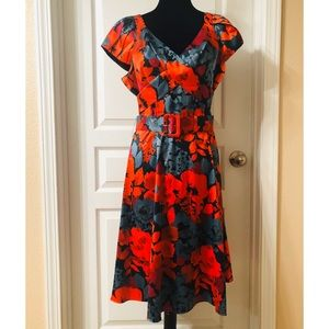 The Limited Floral Belted Fit & Flare Dress